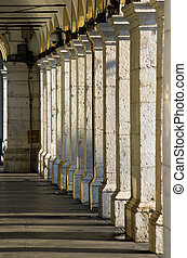 Columns, Nice , france - row of columns in shade in place...