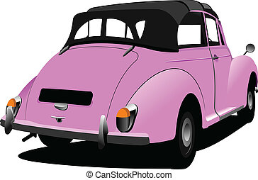 Pink vintage car cabriolet on the road. Vector illustration