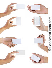 Set of hand holding blank business card over white