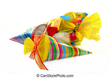 school cones - three colored school cones on a white...