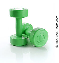 dumbbell over white background