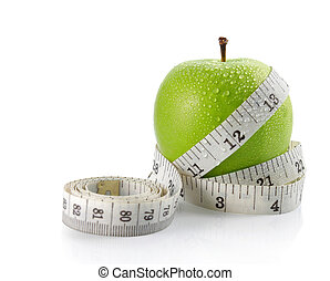 fresh apple with measuring tape isolated over white...