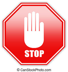 Stop sign - Stop hand sign