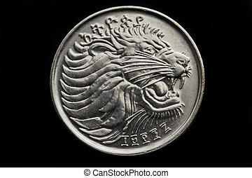 Lion on the twenty five cent - Lion on the face of the...