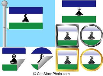 Flag Set Lesotho