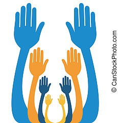 Reaching out together design.