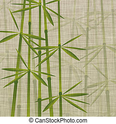 bamboo on linen - illustration of bamboo on linen