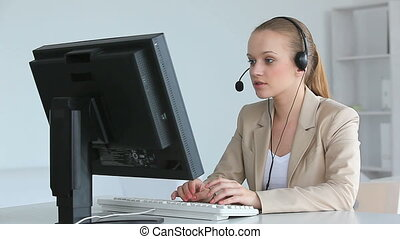 Call center operator - Video of pretty center operator...