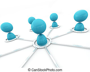 Networking - 3d image of virtual men on network connection