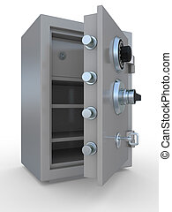 opened steel bank safe over white