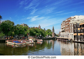 View on Amstel river in amsterdam. - Amsterdam cityscape and...