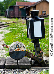Turnout at the railroad track - A switch at one of the...