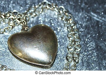 Abstract view large silver heart - Horizontal shot of large...