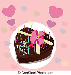 Chocolate cake - Sweet heart chocolate cake, vector...