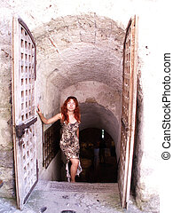 girl rises from a castle vault