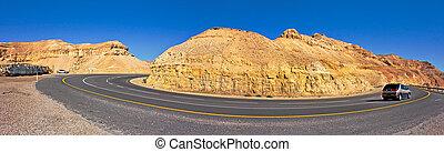 Panoramic view in Arava Desert. - Panoramic view on highway...
