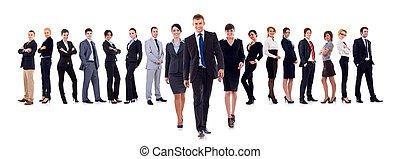 Business leaders walking with their team behind isolated on...