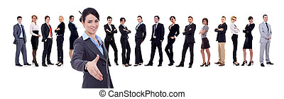 businesswoman welcoming to her successful business team over...