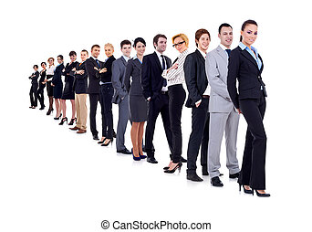 business woman and her team isolated over a white background...