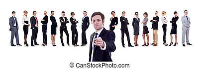business man pointing at you - business man pointing with...