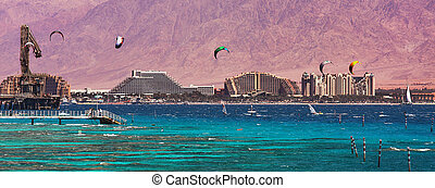 View on bay and coastline in Eilat, Israel.