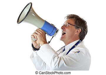 Elderly handsome doctor screams loudly in megaphone