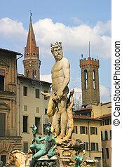 fuente, neptuno, Florencia, Italia