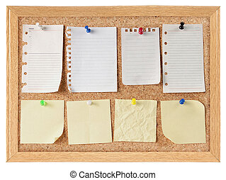collection of note papers on cork board - collection of...