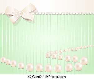vector holiday invitation with bow and pearls