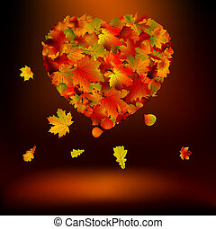 Heart with autumnal leaves EPS 8 vector file included