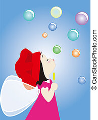 Angel blowing bubbles - illustrtion of a kid blowing bubbles...
