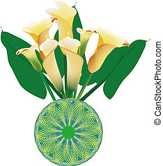 beautiful calla lily - A bottle of yellow calla lily on...