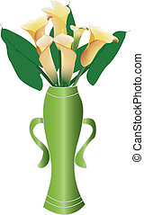 beautiful calla lily - vector illustration of a bottle of...