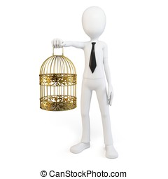 3d man with golden bird cage