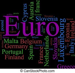 The EURO - Word Cloud based around the Common European...
