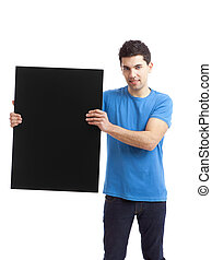 Advertising - Portrait of a young man showing an empty black...