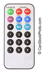 silver remote control on a white background