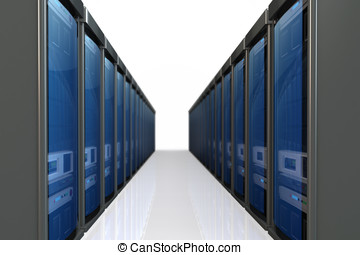 3d servers  datacenter isolated on white background