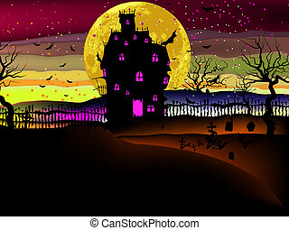 Grungy Halloween with haunted house EPS 8 - Grungy Halloween...