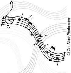 Music notes - Music - notes and staffs. Vector background