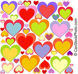 Colorful hearts background - Lovely multicolored hearts...