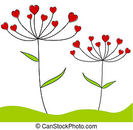 Love flowers - Valentine plants with flowers hearts - card...