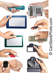 set of hand holding electronic devices, isolated over white...
