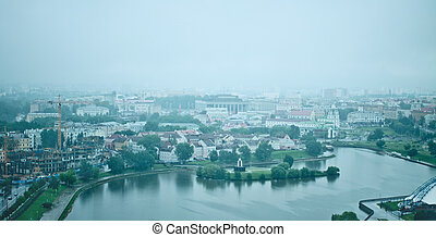 minsk at rainy morning - modern Minsk city, Belarus at rainy...