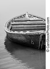 Old fishing boat in black and white