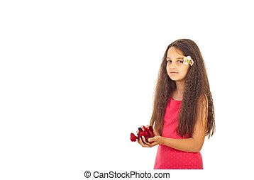 Girl with roses petals