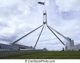 australian flag on parliament - the australian flag on the...