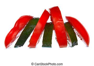 fresh ?ucumber and tomato slices isolated on white