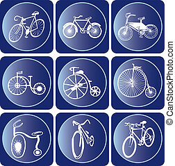 bicicleta, icono, Conjunto