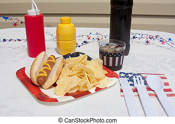 4th Of July Hotdog Meal - 4th Of July hotdog meal with chips...